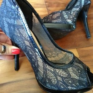 Shoes - Black lace peep toe pumps